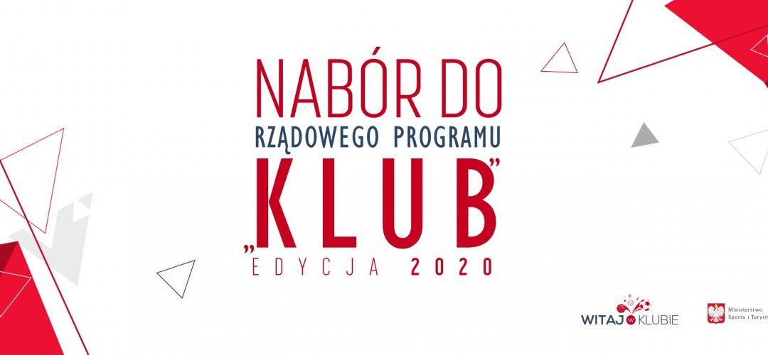 """Nabór wniosków na realizację w 2020 roku Programu """"KLUB"""""""