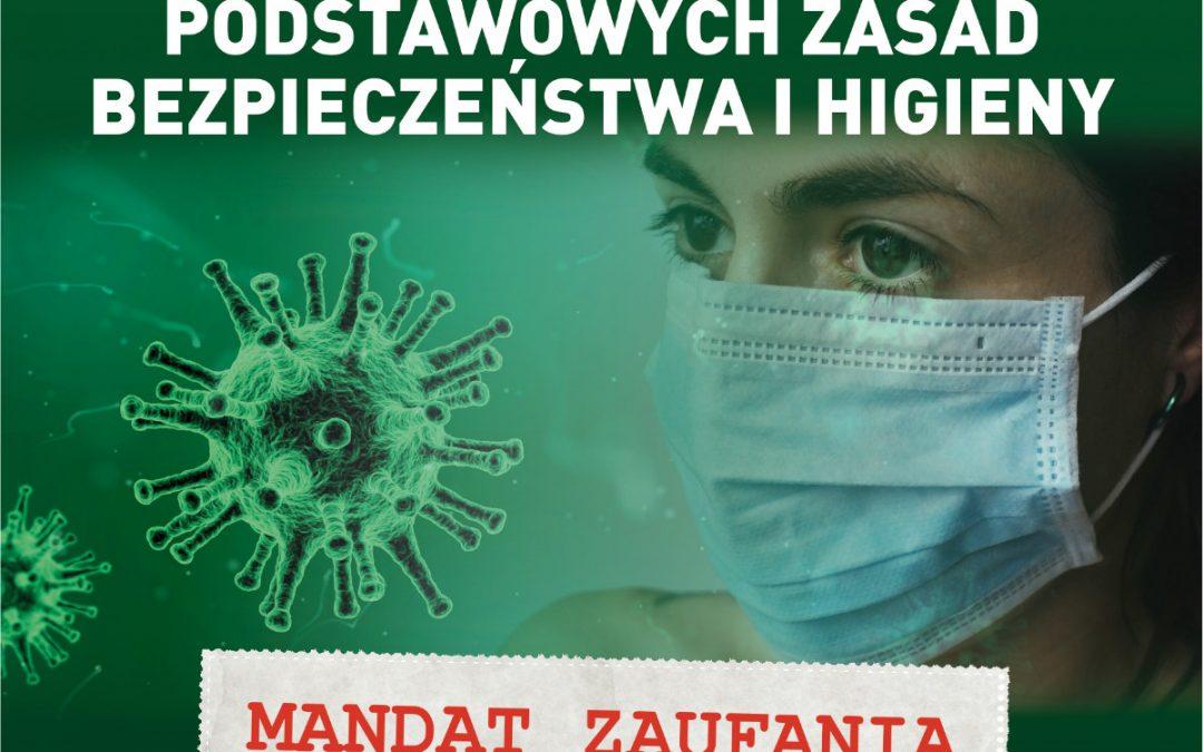 """Akcja informacyjno-edukacyjna  """"Koronawirus. Przestrzegaj podstawowych zasad bezpieczeństwa i higieny"""""""