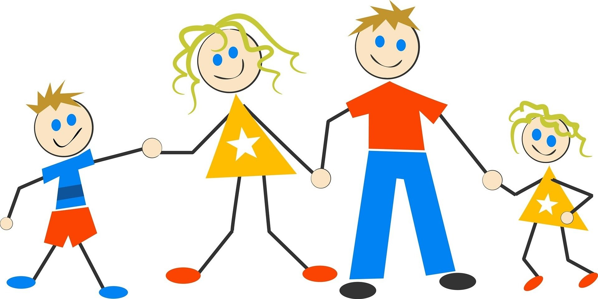 Na zdjęciu mama tata i 2 dzieci - rysunek animowany