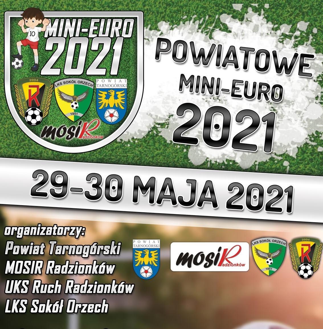 Plakat zapawiadający Powiatowe Mini-Euro 2021