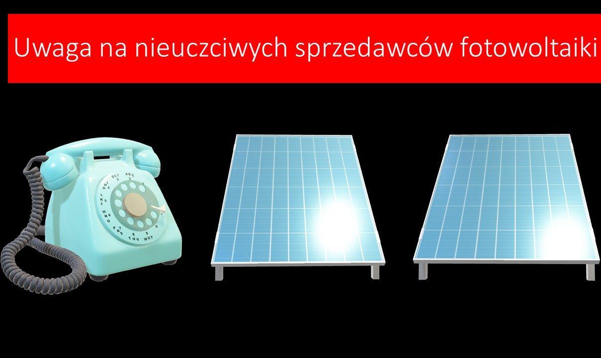 plakat, na którym znaduje się telefon oraz dwa panele fotowoltaiczne