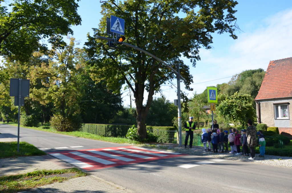 przed przejściem dla pieszych stoją przedszkolaki, obok policjant drogówki