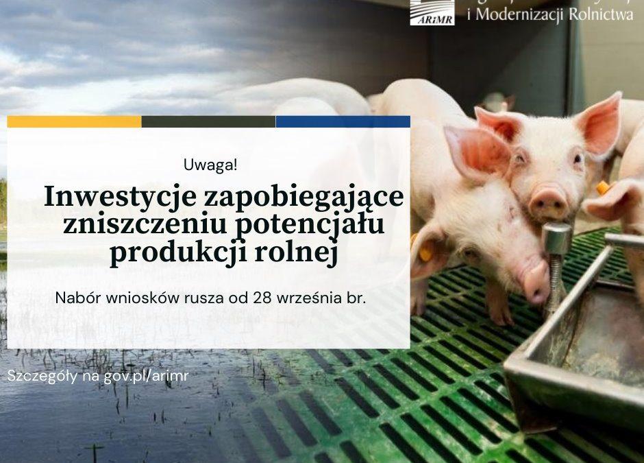 Inwestycje zapobiegające zniszczeniu potencjału produkcji rolnej – wystartował nabór
