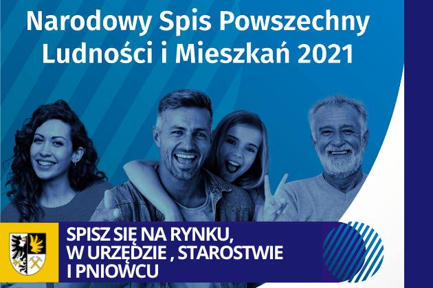 plakat NArodowy Spis Powszechny, na zdjeciu 4 osoby uśmiechnięte, dwóch mężczyzn kobieta i dziecko