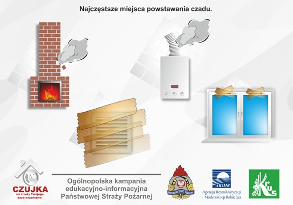 plakat do komunikatu straży pożarnej z logotypami partnerów